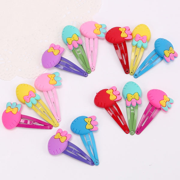 10PCS Children New Silicone Hair Clips Cute Fruit Flowers Safety Barrettes BB Clip Little Girls Gifts Kids Hair Accessories