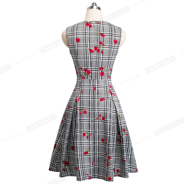 Nice-forever Vintage Flower Printed Elegant Round Neck Rockabilly vestidos A-Line Pinup Business Party Women Flare Dress A093