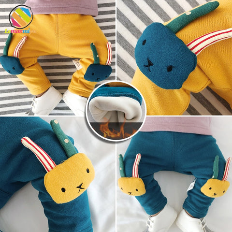 Baby Boys Girls Winter Warm Pants For Newborn 3D Cartoon Animal Elastic Toddler Trousers Casual Unisex Harem Pants