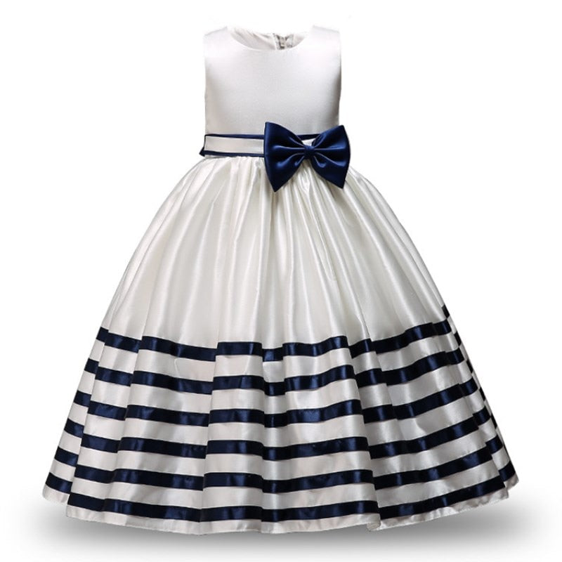 e47d86dff9a Kid Formal Flower Girl Dresses Striped Bowknot Design Ball Gown For ...