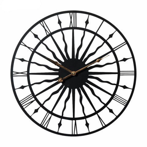 20 Inch Creative Retro Round Wall Clock Household Wavy Pattern Iron Hanging Clock Wall Home Household Decor 50CM