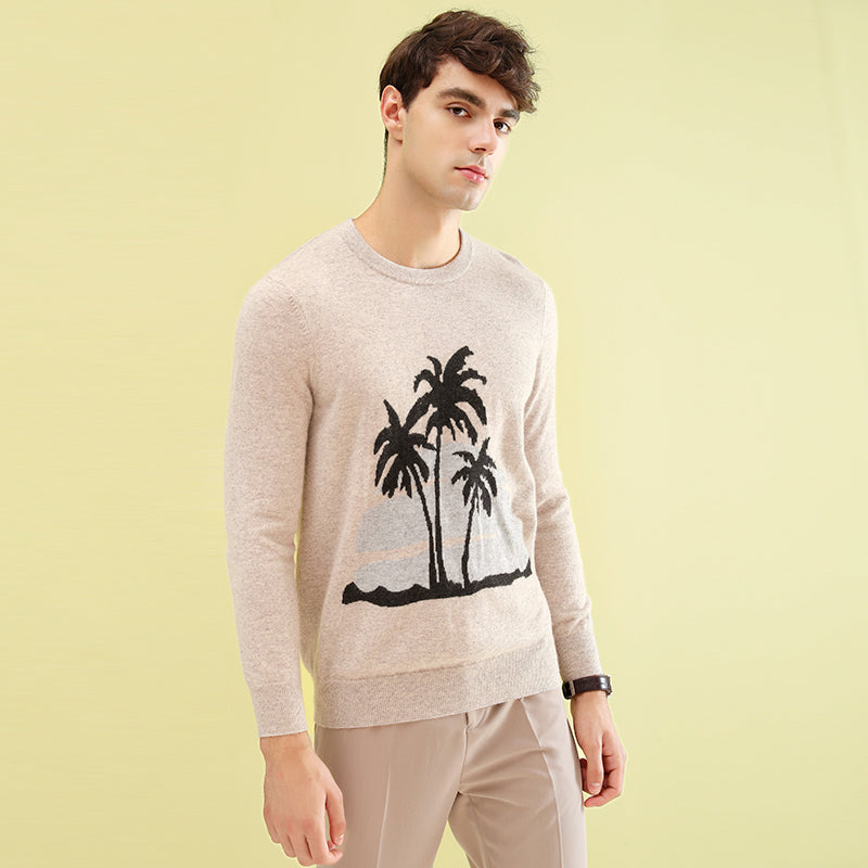 ZHILI 2018 New Autumn Winter Crew Neck With Pattern Cashmere Sweater