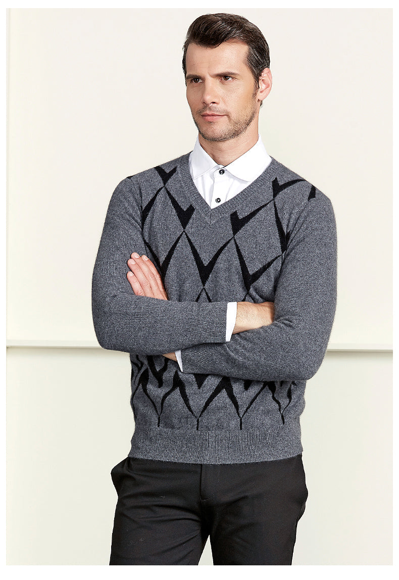High Quality Men's V-Neck Cashmere Sweater Fashion Winter Soft Warm Solid color Full sleeve Knitted Pullovers