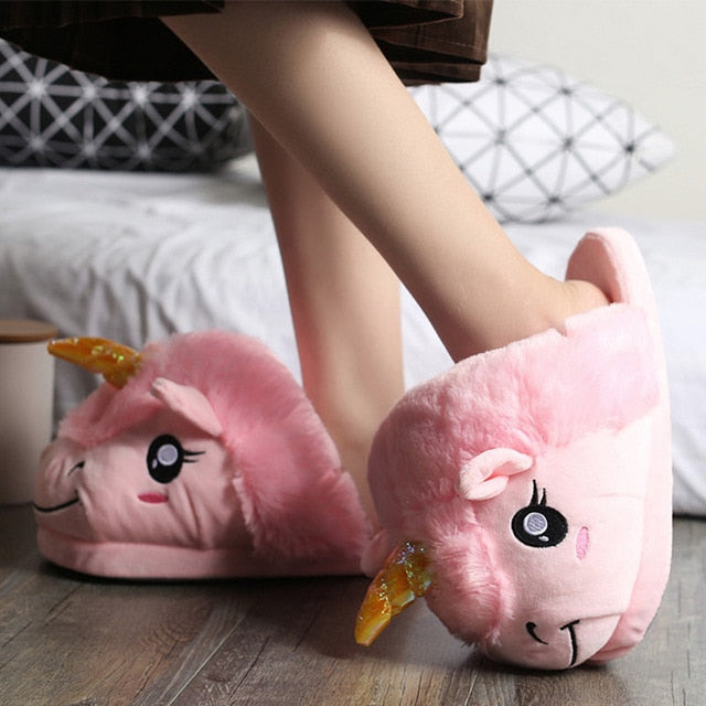Unicorn Slippers for girls Indoor Home shoes woman Embroider Flat with  lovely Warm Bedroom slipper Zapatillas mujer