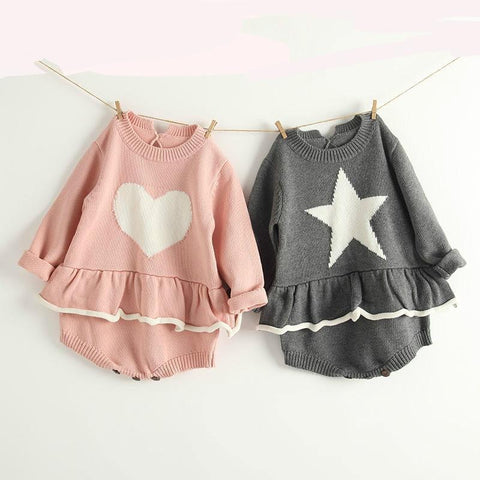 Autumn And Winter girl Knitted Jacket Baby Love Star Long Sleeves Harbin Skirt Bodysuit Baby Baby Clothes