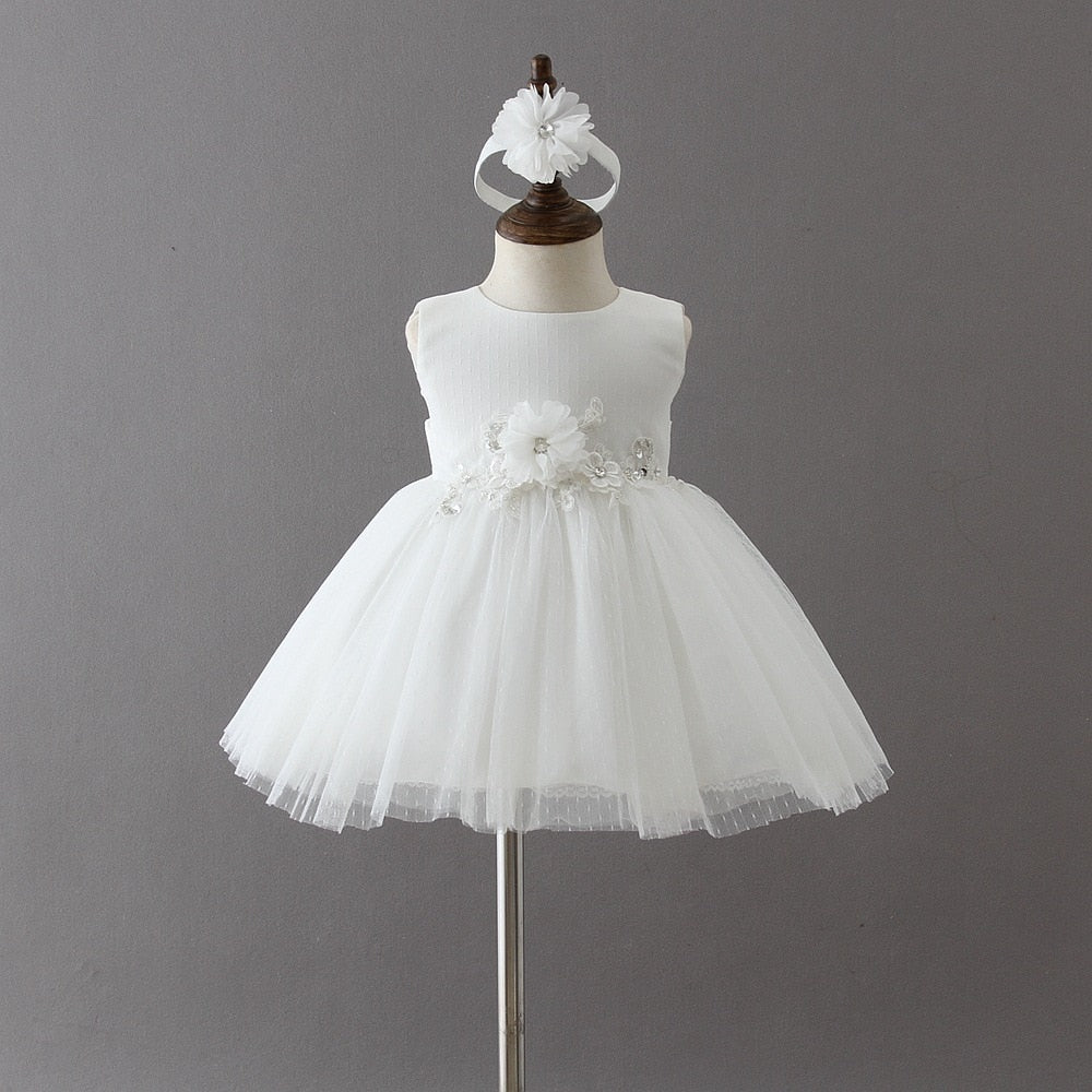401575a9a New Baby Girls Party Lace Tulle Flower Dress Fancy Party 1 Year Birthday  Sundress Todddler Little ...