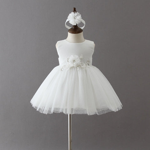 e282da2f0 New Baby Girls Party Lace Tulle Flower Dress Fancy Party 1 Year Birthday  Sundress Todddler Little