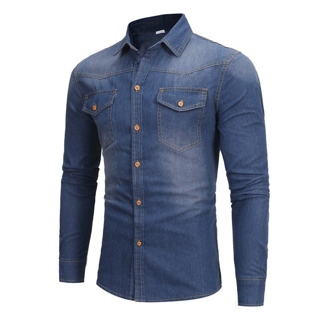 Men Long Sleeve Denim Shirt Blue Denim Casual Shirt for Male Jeans Cardigan Casual Fashion Two-pocket Slim Fit Long Sleeve Shirt