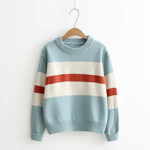 Autumn And Winter New Sweaters Long Sleeve Pullovers Fashion O-Neck Stripe Female Sweater