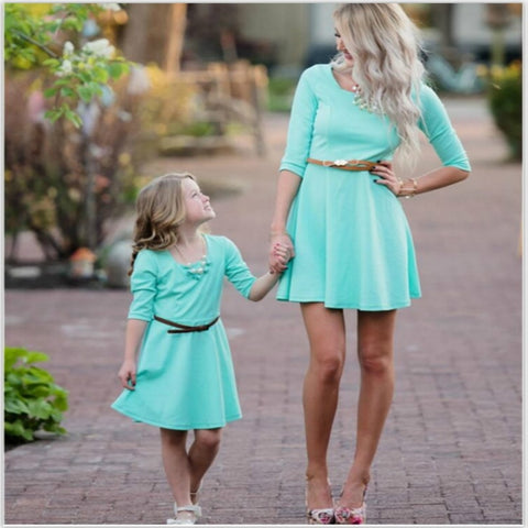 0631f98d1e4 Mother Daughter Dress Matching Outfits Clothes Women Mum Girl Baby Outwear  Clothing Sky Blue Mommy and