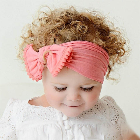 Baby Hairband Soft Cotton Baby Girls Kid Toddler Bow Tassel Hairband Headband Turban Big Knot Head-Wrap Free Shipping