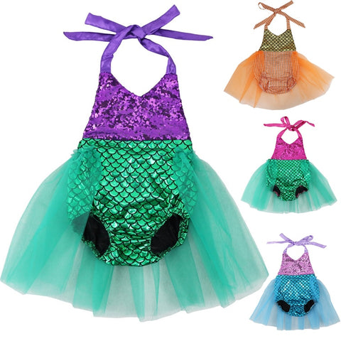Baby Girls Sequins Tutu Summer Mermaid Baby Rompers One-Pieces Multi Color Toddler Baby Clothing Girl Rompers