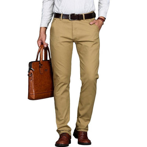 Business men's spring summer casual brand khaki straight pant autumn man cotton pants black long trousers