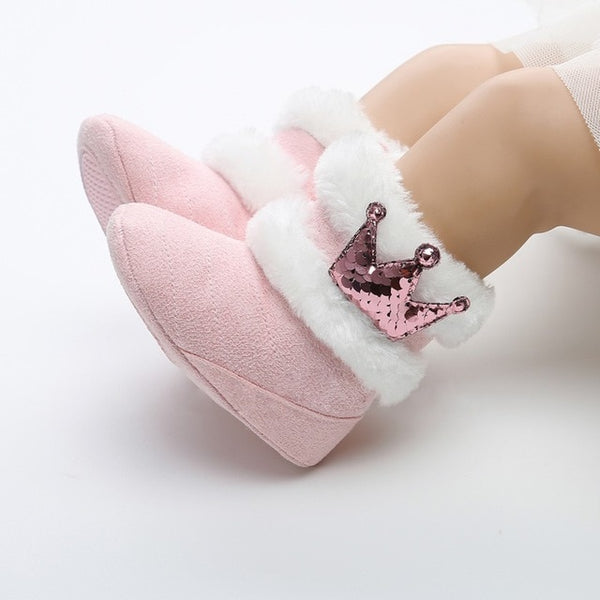 Newborn Infant Baby Girls Winter Warm Crown Fur Mid-Calf Length Slip-On Furry Boots 0-18M New