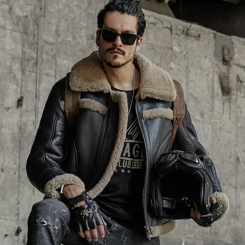 men genuine leather jacket men sheepskin coat shearling short design fur coats outerwear mens leather tops jackets