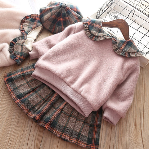 New Baby Dress Vestido Infantil Qiu Dong With Girl Garment Plaid School Of Western Style Dress Warm Wind