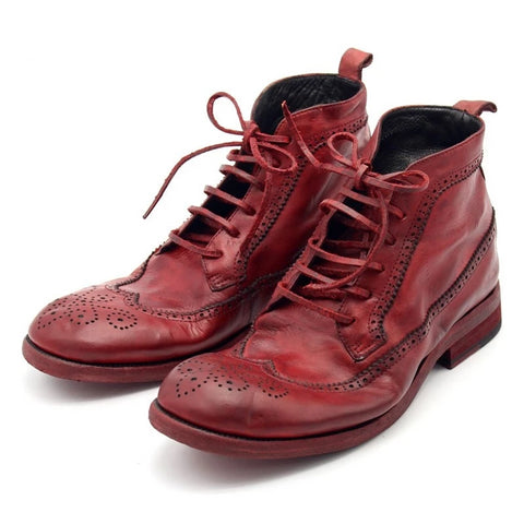 100% Mens Boots Runway Luxury Handmade High Quality Retro Red Masculine Boot Lace Up Safety Shoes Men Plus Size