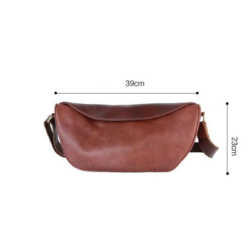 Men's chest bag new trend leather dead casual Messenger men's  shoulder dumpling