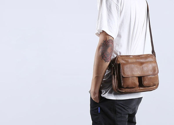 Retro casual nature leather men bag shoulder Messenger bag head layer cowhide men's postman package bag  summer small bag