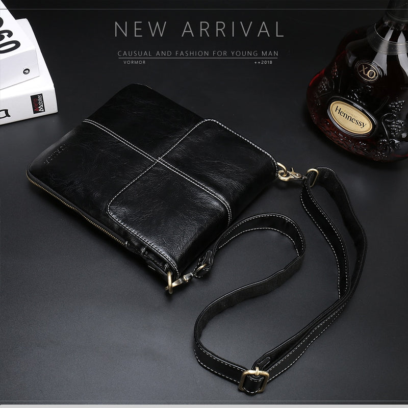 VORMOR Leather Men Bag Fashion Leather Crossbody Bag Shoulder Men Messenger Bags Small Casual Designer Handbags Man Bags