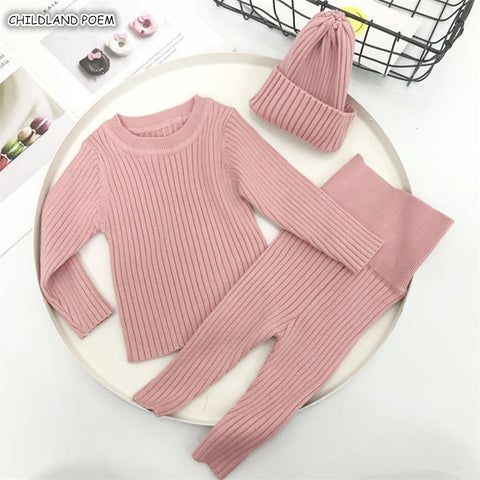 Baby Boys Sweaters Newborn Baby Knitted Clothes Baby Girl Sweater Winter Baby Girl Clothes 100% Cotton Pants + Hats + Cardigan