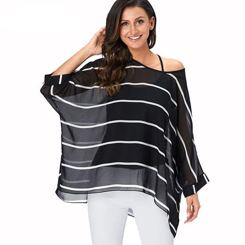 Blouse Shirt Women New Striped Print Summer Tops Tees Batwing Sleeve Casual Chiffon Blouses 2019