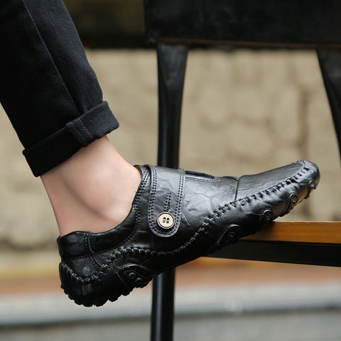 Genuine Leather Rubber Loafers Slip-on Mens Shoes Casual Men Loafers Breathable Mens Casual Slip On Shoes Men Shoes 47