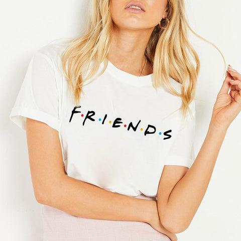Women T-shirts Fashion Friends Print Summer Pop Vogue Best Friends  T Shirts Vintage Graphic Tees Tops