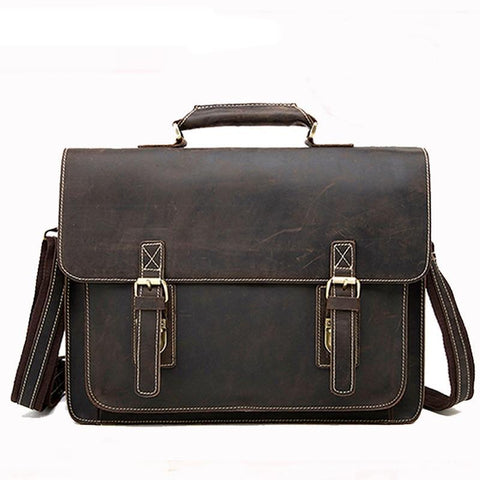 ca95f4ed6cb1 Vintage Crazy Horse Genuine Leather Bag lawyer Men s Briefcases Male  Shoulder Laptop Bag for men document