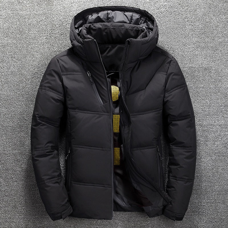 Winter new men's down jacket Casual mens thick Detachable hat White duck down hooded coat male Solid color warm zip outwear Tops