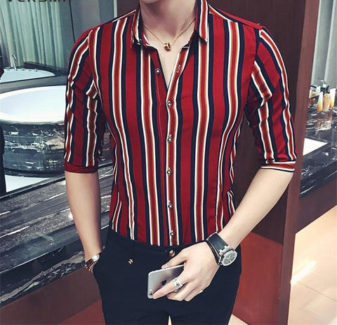 Chiffon Stripe Shirt Men Women Summer Slim Fit Hip Hop GD Nightclub Couple Shirts Men 5XL