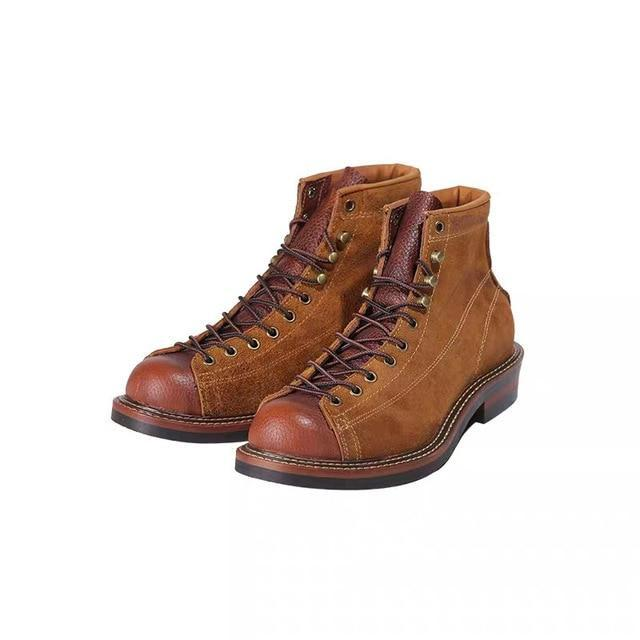 0f49a31cbe1df Round Toe Genuine Leather Vintage British Top Quality Platform Ankle Boots  Men Fashion Handmade Tooling Motorcycle Boots