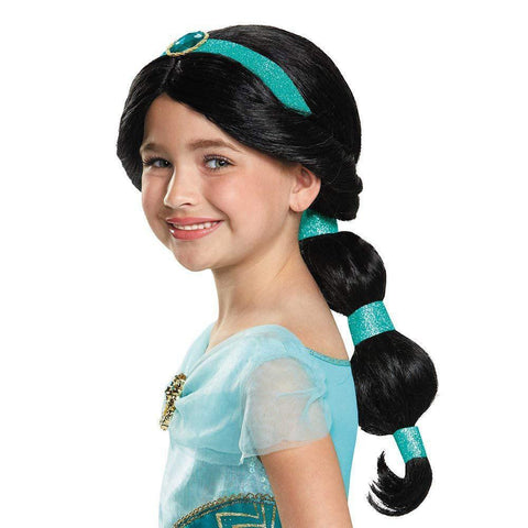 Kid Princess Jasmine Human Hair Halloween Cosplay Accessories Girls Rapunzel Cinderella Dress up Wig Child Party Supplies