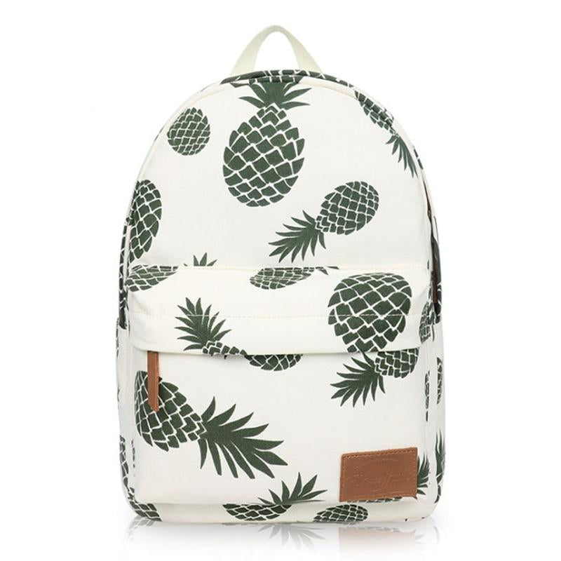 08af8ac1da41 Women Fruit Printing Backpack Canvas Backpacks for Teenage Girls School Bag  Green Pineapple Backpack Big Travel mochila escolar