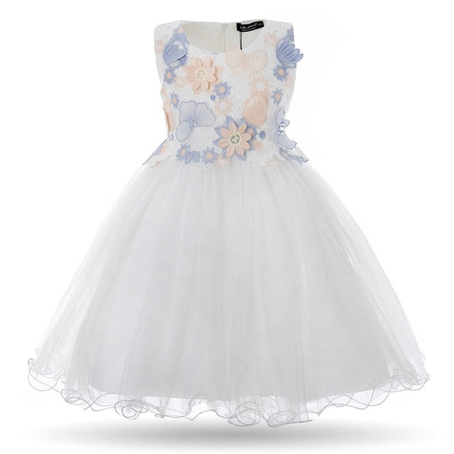 Kids Girls Flower Dress Baby Girl Butterfly Birthday Party Dresses Children Princess Fancy Ball Gown Wedding Clothes