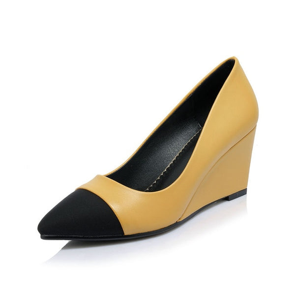 Spring Autumn Brand Sexy Pointed Toe Women Pumps Mixed Color Shallow Wedges Shoes Woman Big Size 32-42