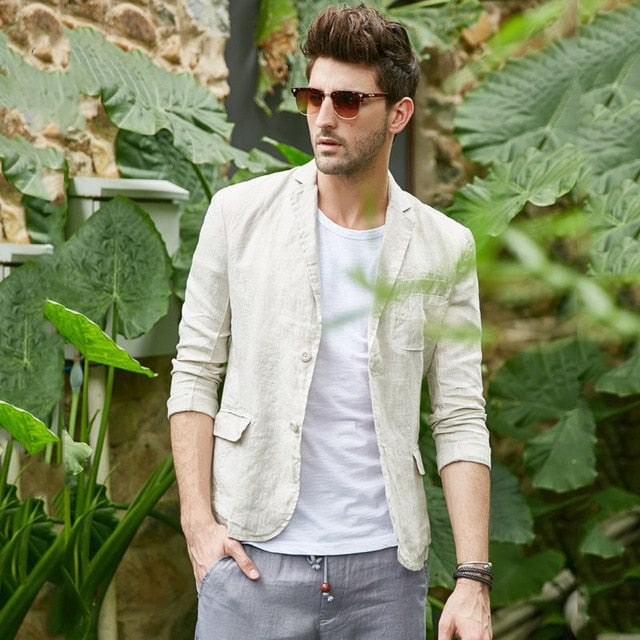 Spring Autumn Men Elegant Linen Blazer Suit Mens Solid Color Casual Blazer For Male