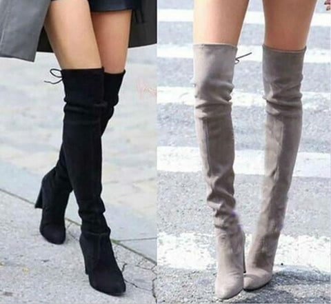 Fashion Female Winter Thigh High Boots Faux Suede Leather High Heels Women Over The Knee Shoes Drop shipping