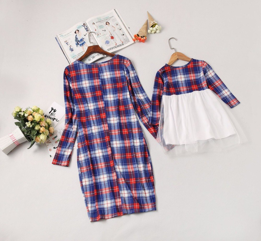 bfd391c13a4b New Mother Daughter Dresse Family Matching Clothes Plaid Long Sleeve  Patchwork Mom and Daughter Dresses Family Look