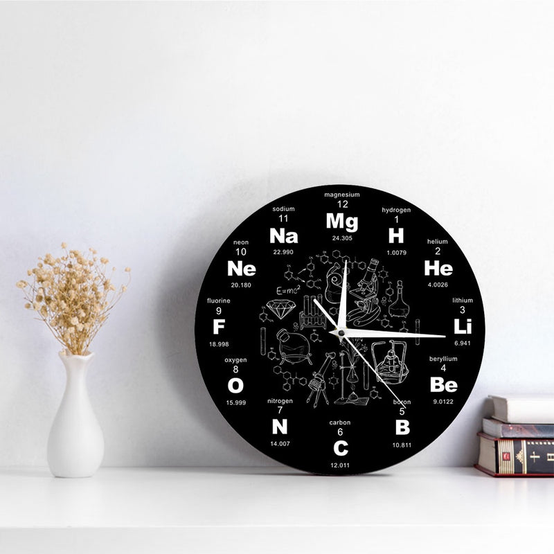 Periodic Table Of Elements Wall Art Chemical Symbols Wall Clock Educational ElementaL Display Classroom Clock Teacher's Gift