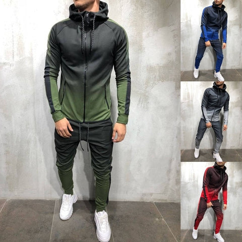 Men Tracksuit 2 Piece Set 3D Gradient Color Casual Hoodies Sweatshirt and Pants Sportswear Joggers Men Sets