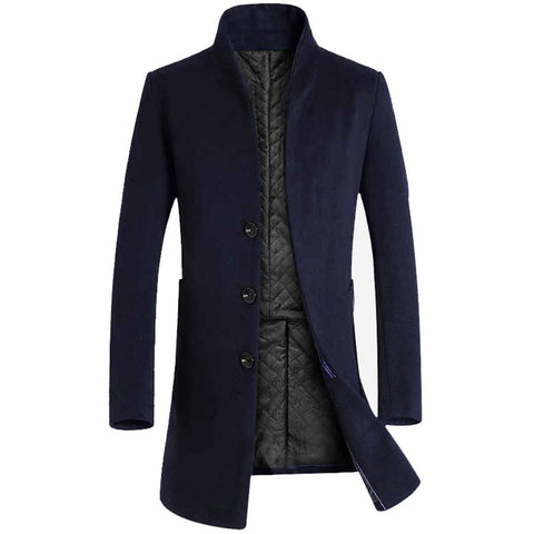 Men's Solid 3 Buttons Single Breasted Wool Winter Coats for Men Medium Long Jackets Man's Slim fit Peacoat 2018 Male Trench
