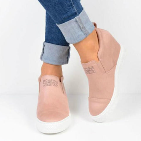Europe Autumn Winter Women Shoes Short Boots Wedges Ankle High-heel Riding Equestrian Internal Increase Slip-on Shoes Woman