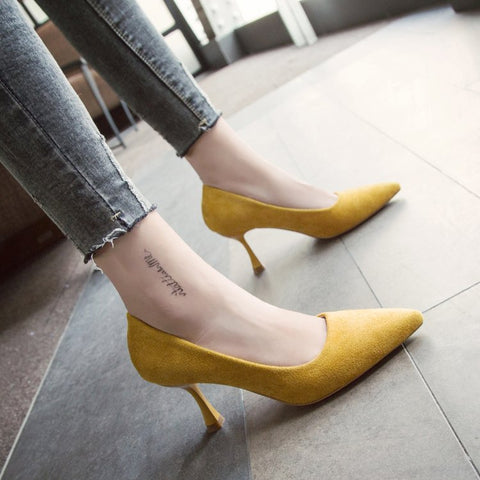 Autumn Low Kitten Heel Pumps Shoes Classic Stiletto Heels Pointed Toe Women New 2018 Office Work Pumps Slip On 3 CM