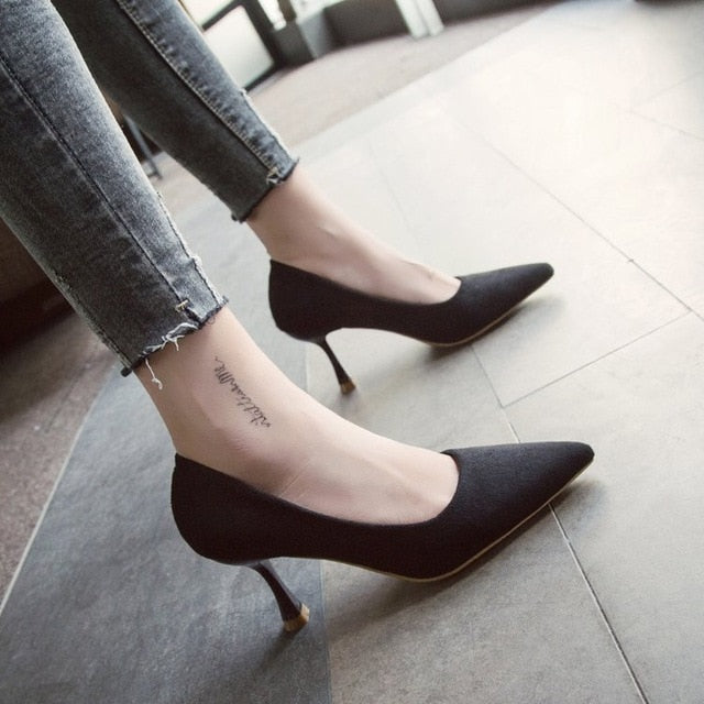 5b244dcebaa ... Autumn Low Kitten Heel Pumps Shoes Classic Stiletto Heels Pointed Toe  Women New 2018 Office Work ...