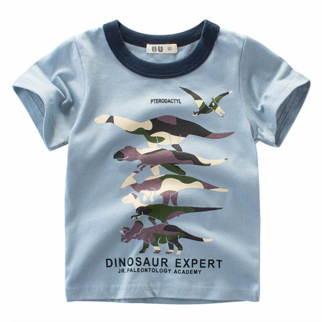 Cartoon Print Baby Boys Dinosaur T Shirt For Summer Infant Kids Boys Girls Lion T-Shirts Clothes Cotton Toddler Letter Tops