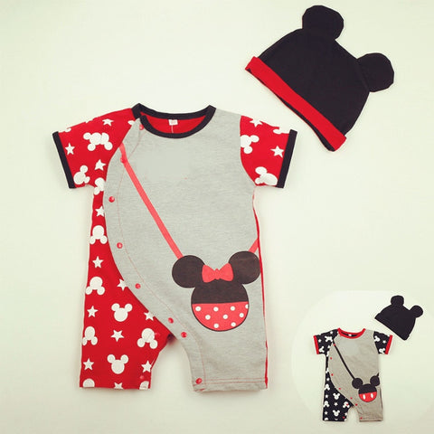 Infant Minnie baby girls clothes 100% Cotton Newborn Baby Rompers Mickey Boys clothes + hat 2pcs sets Toddler Kids Clothing