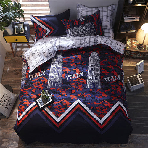 New spring Bedding set Orange Cactus duvet cover set BIg Ben flat sheet Pisa tower jogo de cama bed linen heart duvet cover
