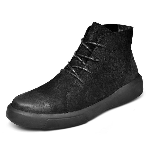 Boots men winter Shoes genuine leather shoes with fur male Ankle Boots fall Fashion Motorcycle boot Footwear Lace Up 45 46 47
