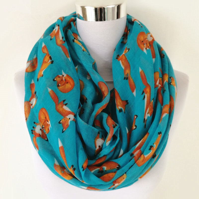 New Fashion Fox Infinity Scarf Animal Scarf Small Fox Scarves in Long Scarf Fox in Tan Shawls hot sale women neckerchief